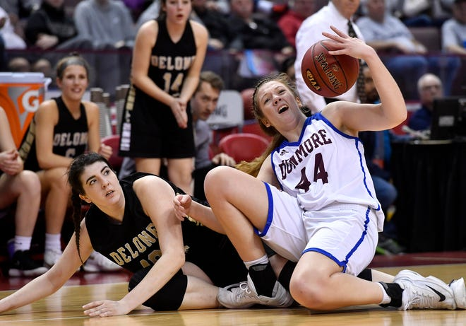 Dunmore battles Delone Catholic in the 2019 PIAA Class 3-A girls' basketball state title game. Delone won that game. Dunmore is now in a court battle fighting a PIAA reclassification ruling moving the Lady Bucks from 3-A to 4-A for the 2020-21 season.