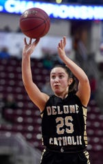 Delone Catholic's Camryn Felix drops foul shots in the final minute against Dunmore in the PIAA Class 3-A girls' basketball championship, Thursday, March 21, 2019. 