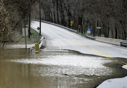 Trinity Road near the West Manchester and North Codorus Township border was closed as the South Branch of the Codorus Creek began rising over the roadway Friday, March 22, 2019. Several roads in York County were closed due to flooding Friday. Bill Kalina photo