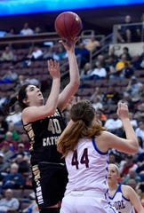 Delone Catholic's Bradi Zumbrum, seen here in action vs. Dunmore in the state title game, was praised for her leadership by Squirettes head coach Gerry Eckenrode.