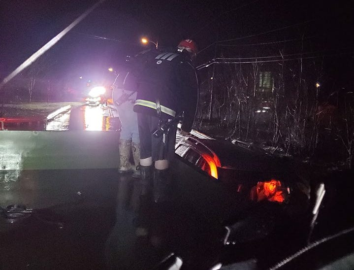 Crews were dispatched to a sinking and drifting vehicle at Kreutz Creek along Frysville Road Friday morning. One person was in the vehicle and was assisted to shore.