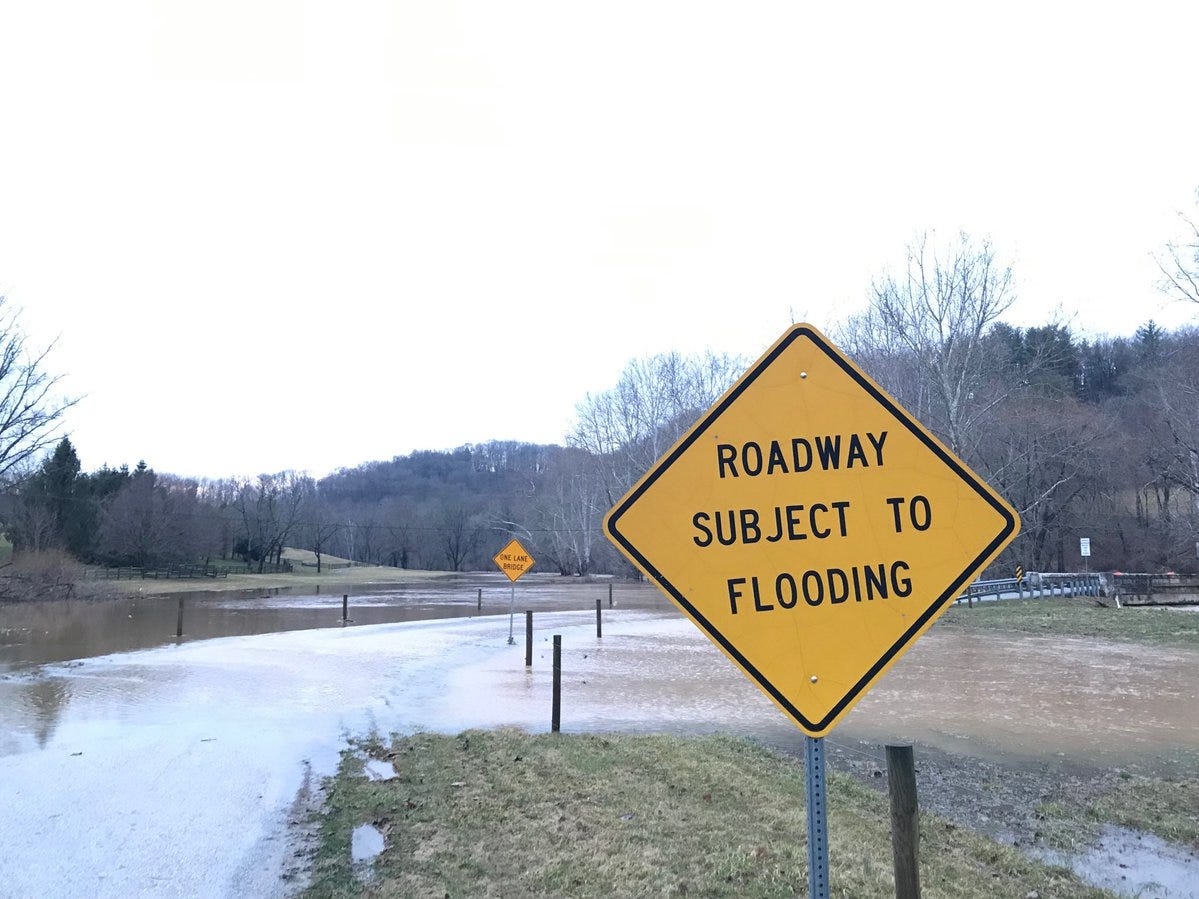 A sign flags an area in North Codorus Township that's vulnerable to flooding.
