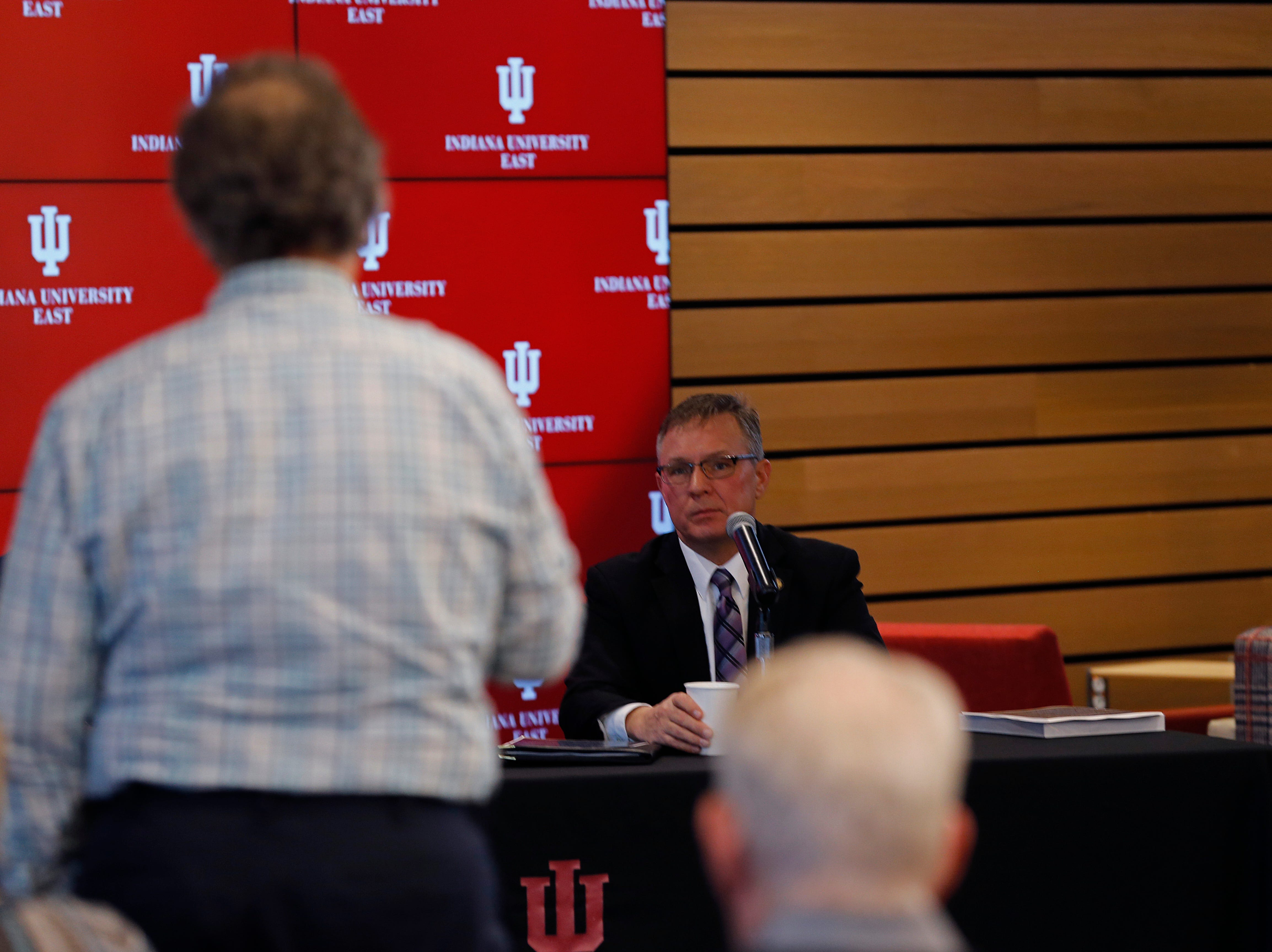 State Sen. Jeff Raatz listens to an audience member's question during the Legislative Forum event on Friday, March 22, 2019, at IU East in Richmond.