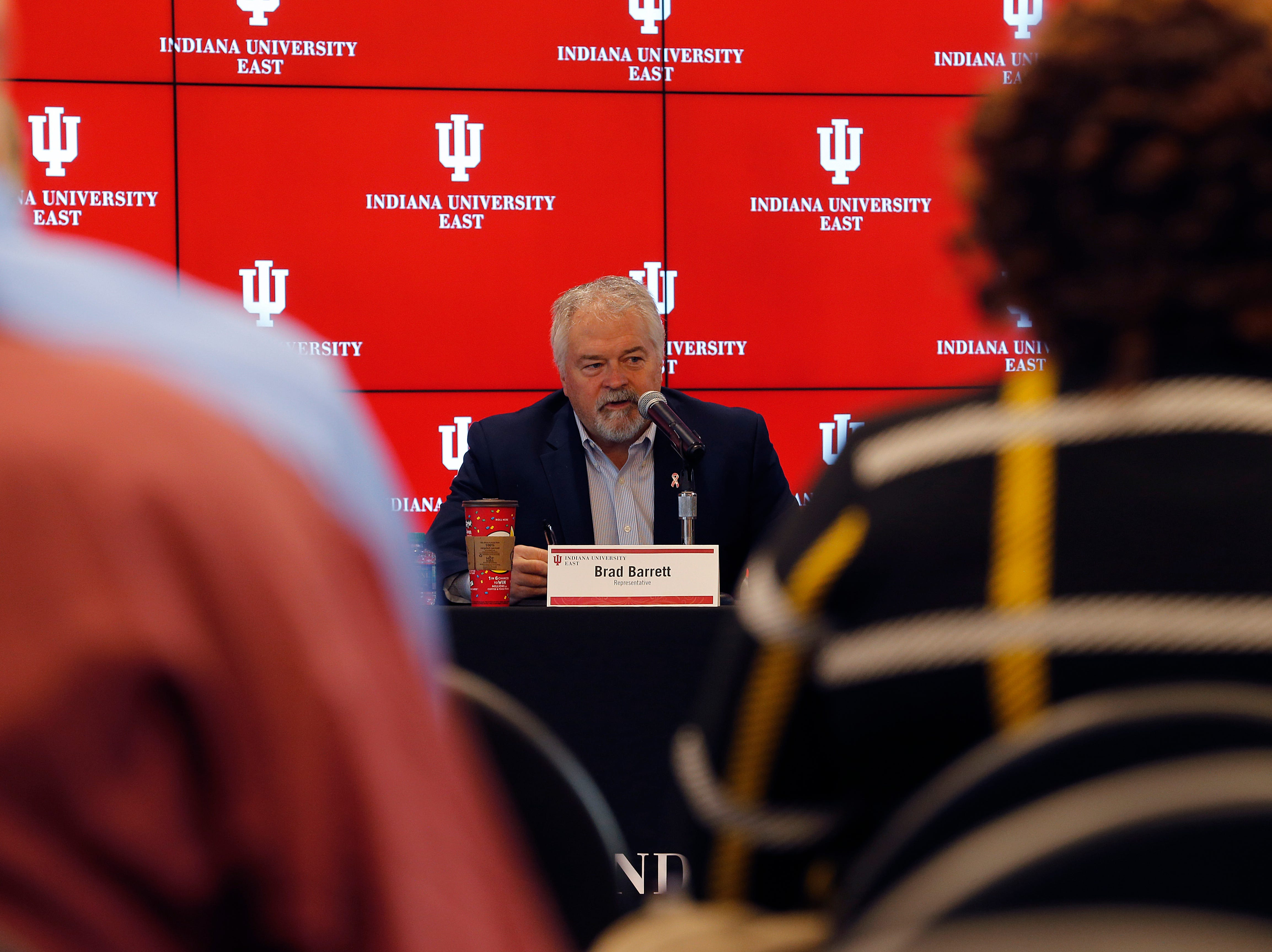 State Rep. Brad Barrett updates the audience on how things are coming along at the Indiana General Assembly during the Legislative Forum event on Friday, March 22, 2019, at IU East in Richmond.