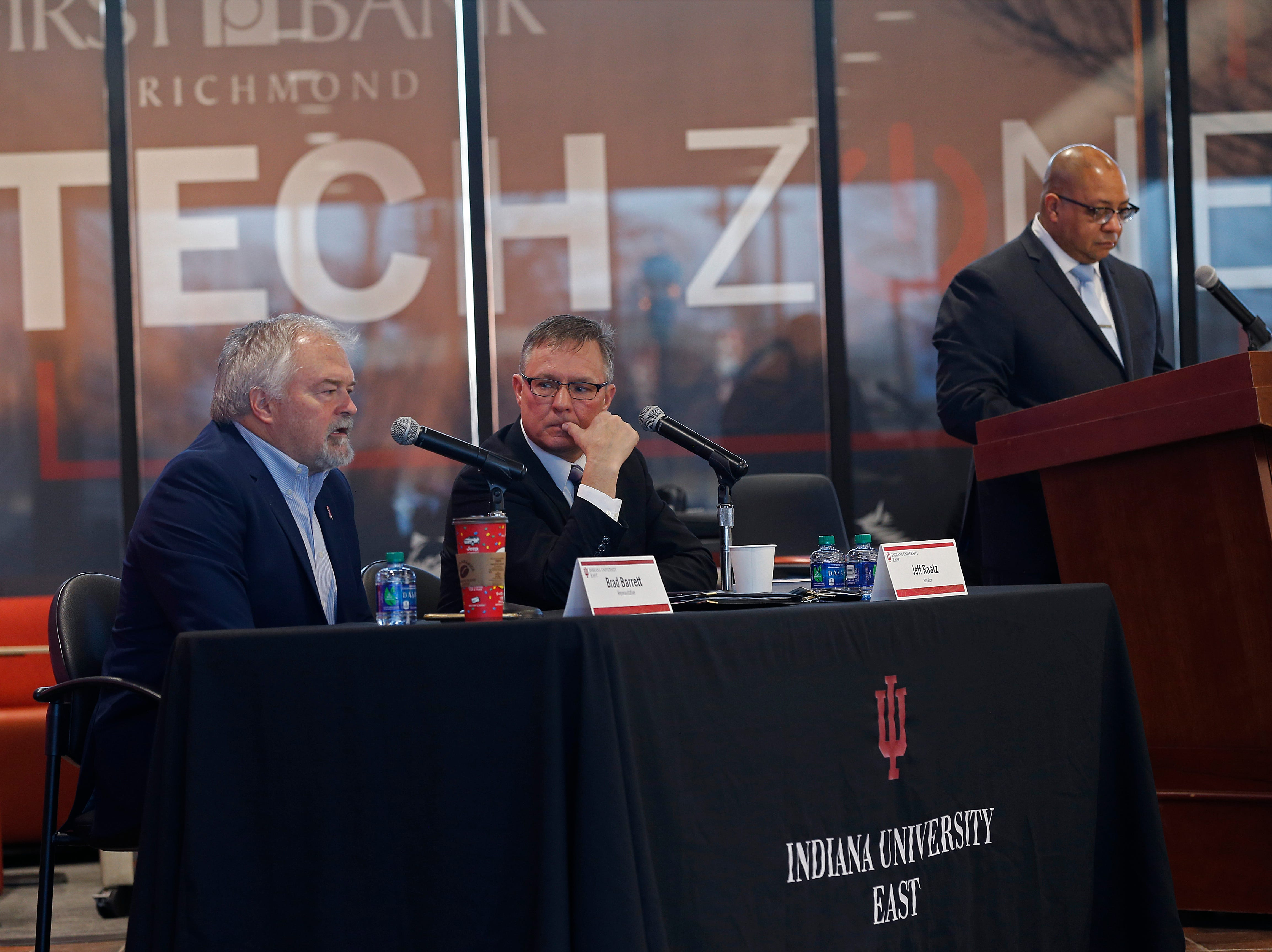 State Rep. Brad Barrett (left) and State Sen. Jeff Raatz (center) answer questions from the audience during the Legislative Forum event on Friday, March 22, 2019, at IU East in Richmond.