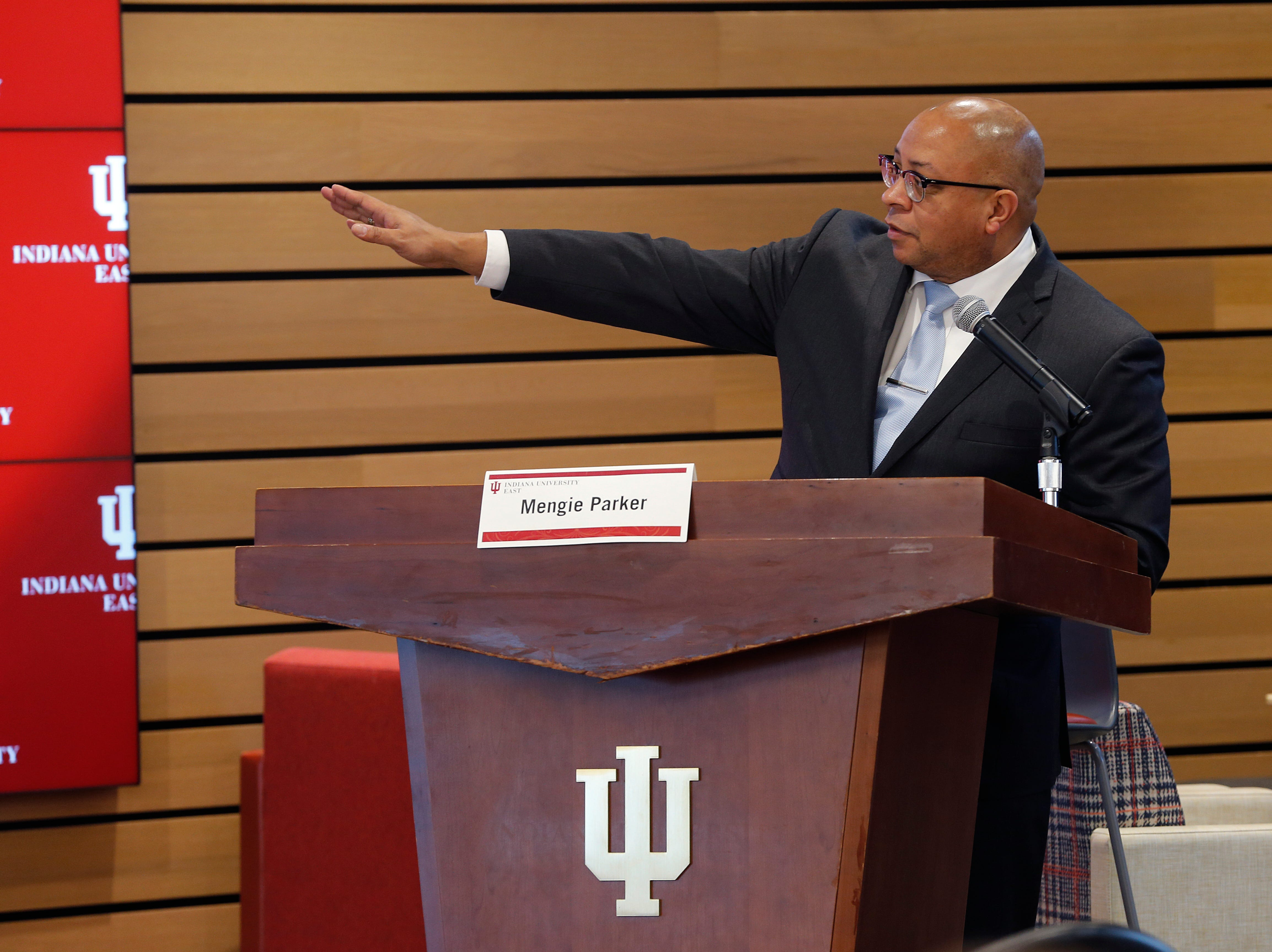 Moderator Mengie Parker gets things started at IU East's third and final Legislative Forum of the year on Friday, March 22, 2019.