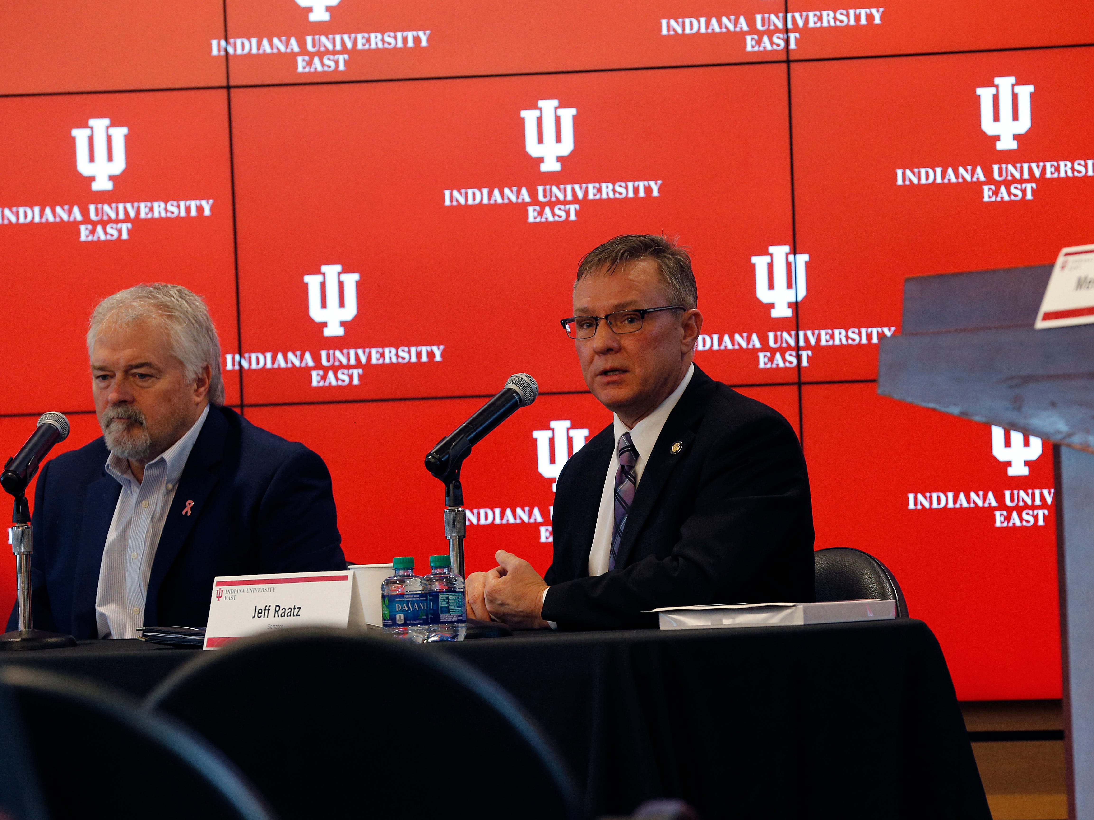 State Rep. Brad Barrett (left) and State Sen. Jeff Raatz answer questions from the audience during the Legislative Forum event on Friday, March 22, 2019, at IU East in Richmond.