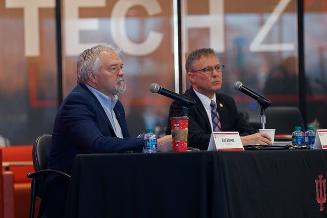 State Rep. Brad Barrett (left) and State Sen. Jeff Raatz answer questions from the audience during a Legislative Forum in March 2019, at IU East in Richmond.