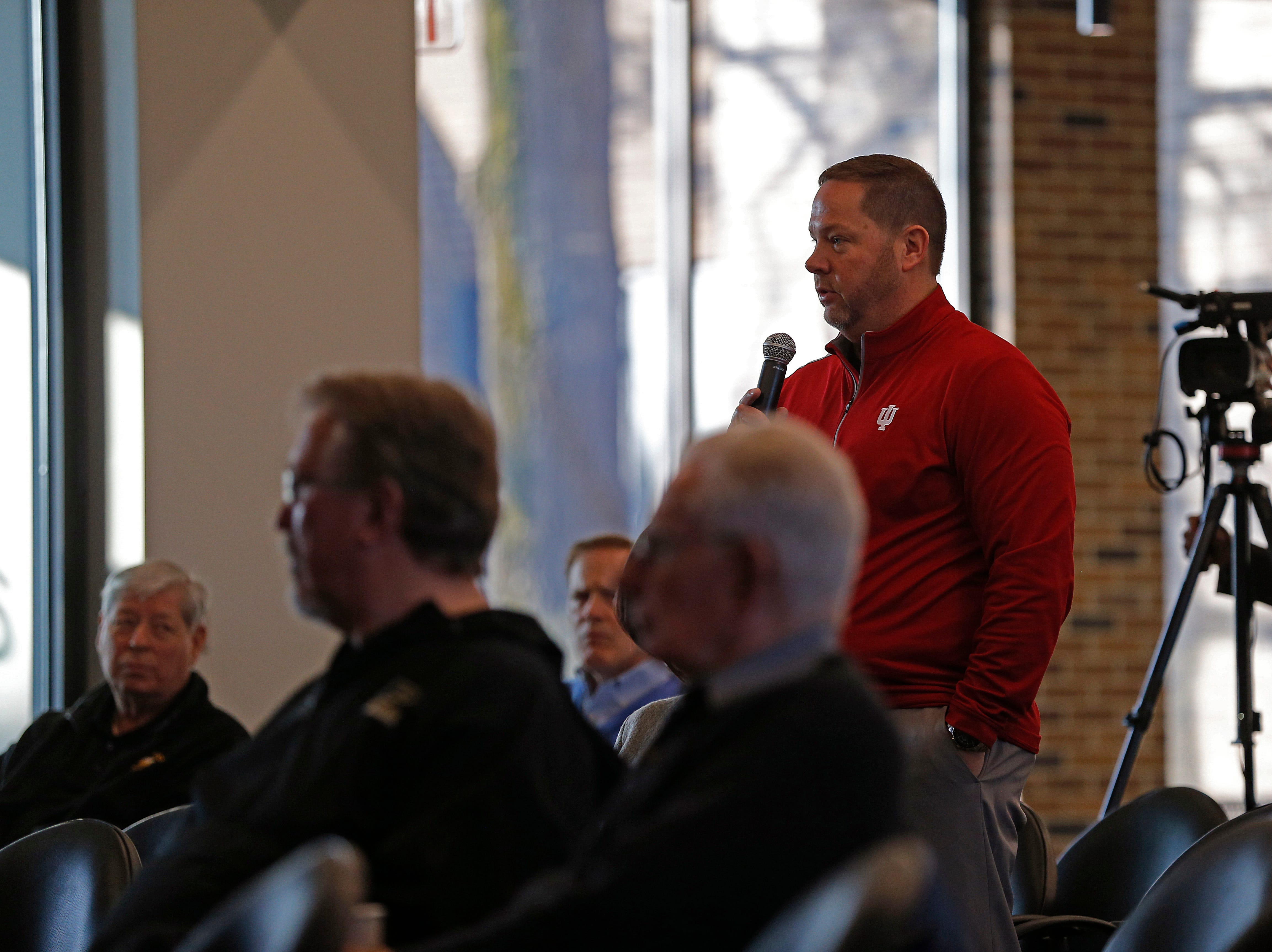 Richmond Community Schools Superintendent Todd Terrill makes a comment at the end of Friday's Legislative Forum event in Whitewater Hall on the IU East campus in Richmond.