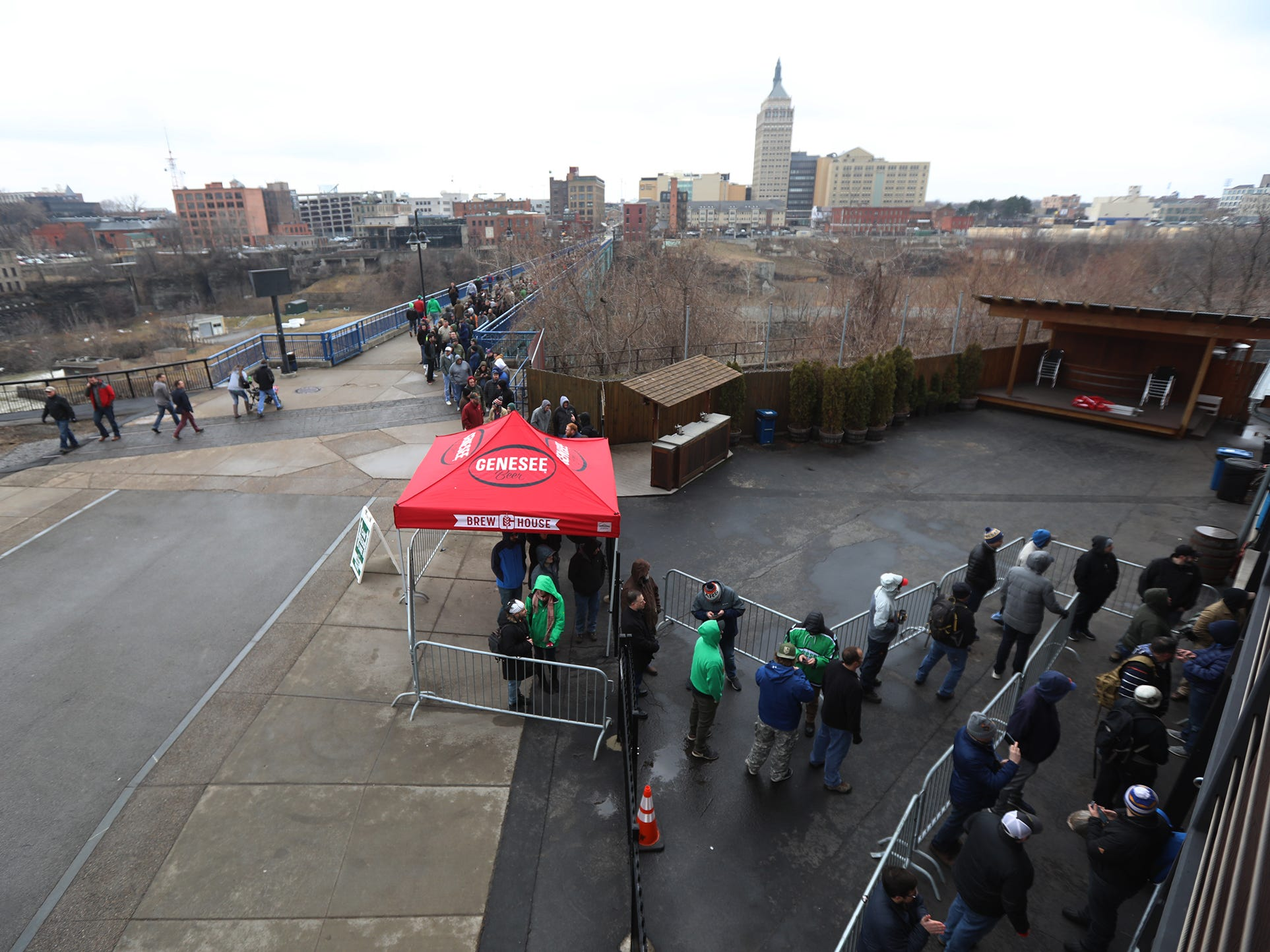 People had to park several blocks away to get in line to buy Genesee Dream Ale.  The parking lot was completely full along with streets immediately near the Genesee Brew House.