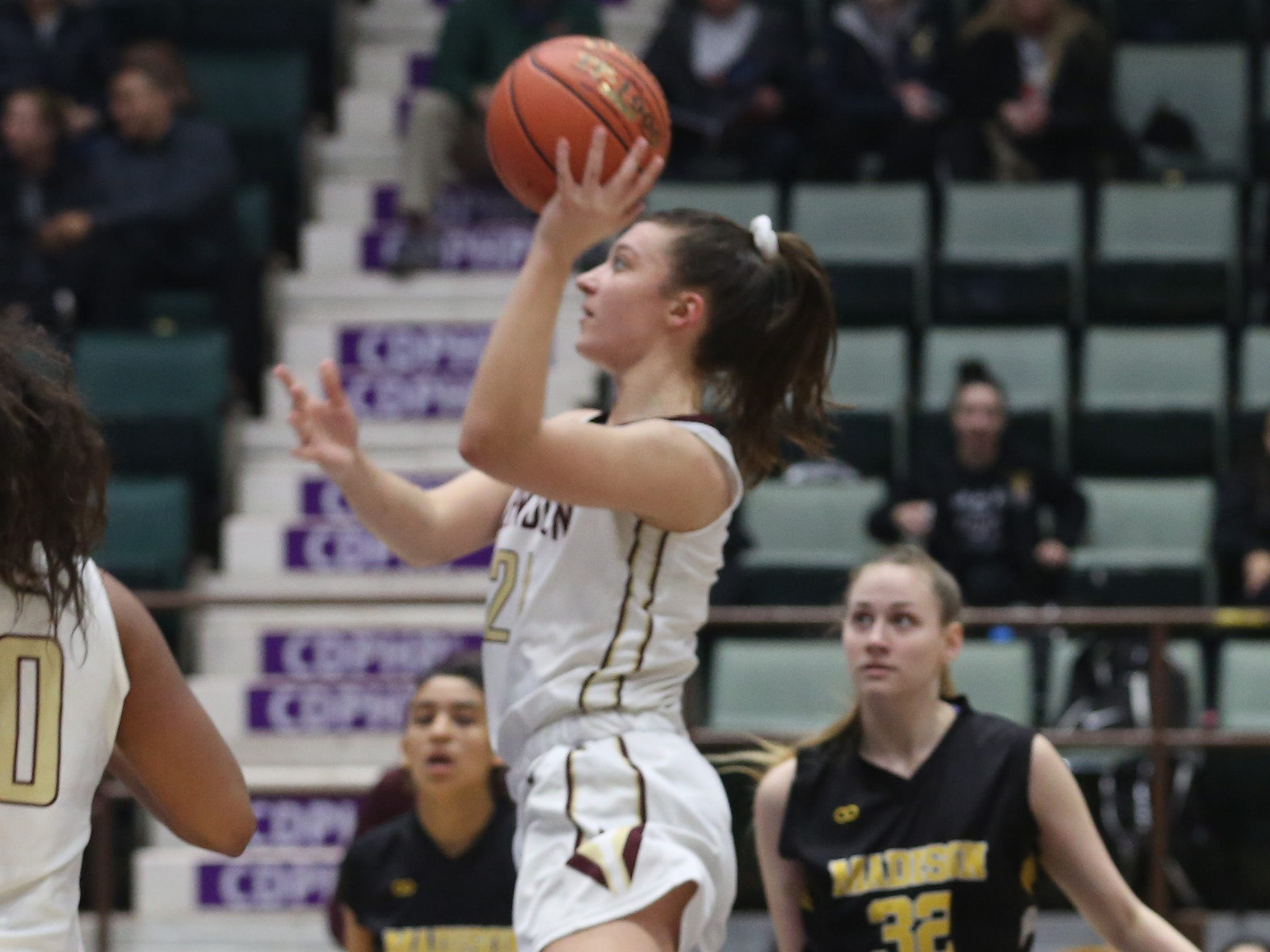 Pittsford Mendon's Alana Fursman drives to the basket against James Madison during the girls Class A semifinal in the Federation Tournament of Champions at the Cool Insuring Arena in Glens Falls March 22, 2019. Mendon won the game, 49-43.