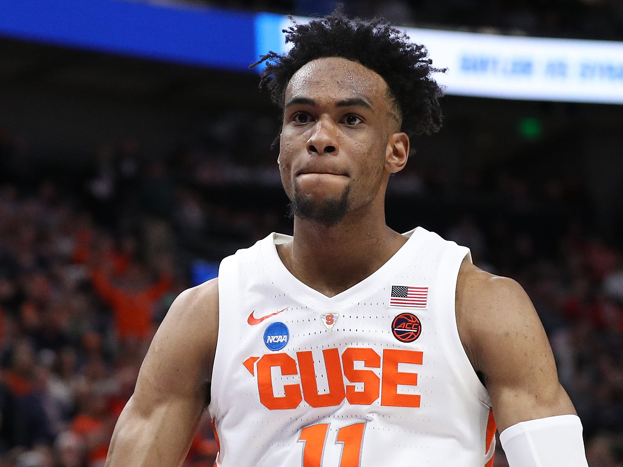 Oshae Brissett of the Syracuse Orange reacts as they play against the Baylor Bears on March 21, 2019 in Salt Lake City, Utah.