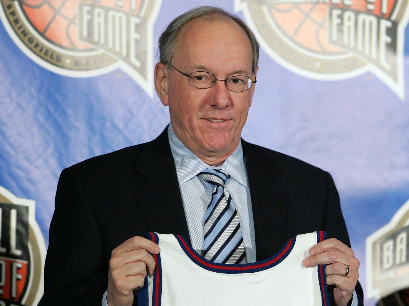 Jim Boeheim is presented as one of the newest members of the Basketball Hall of Fame during an announcement Monday, April 4, 2005 in St. Louis.