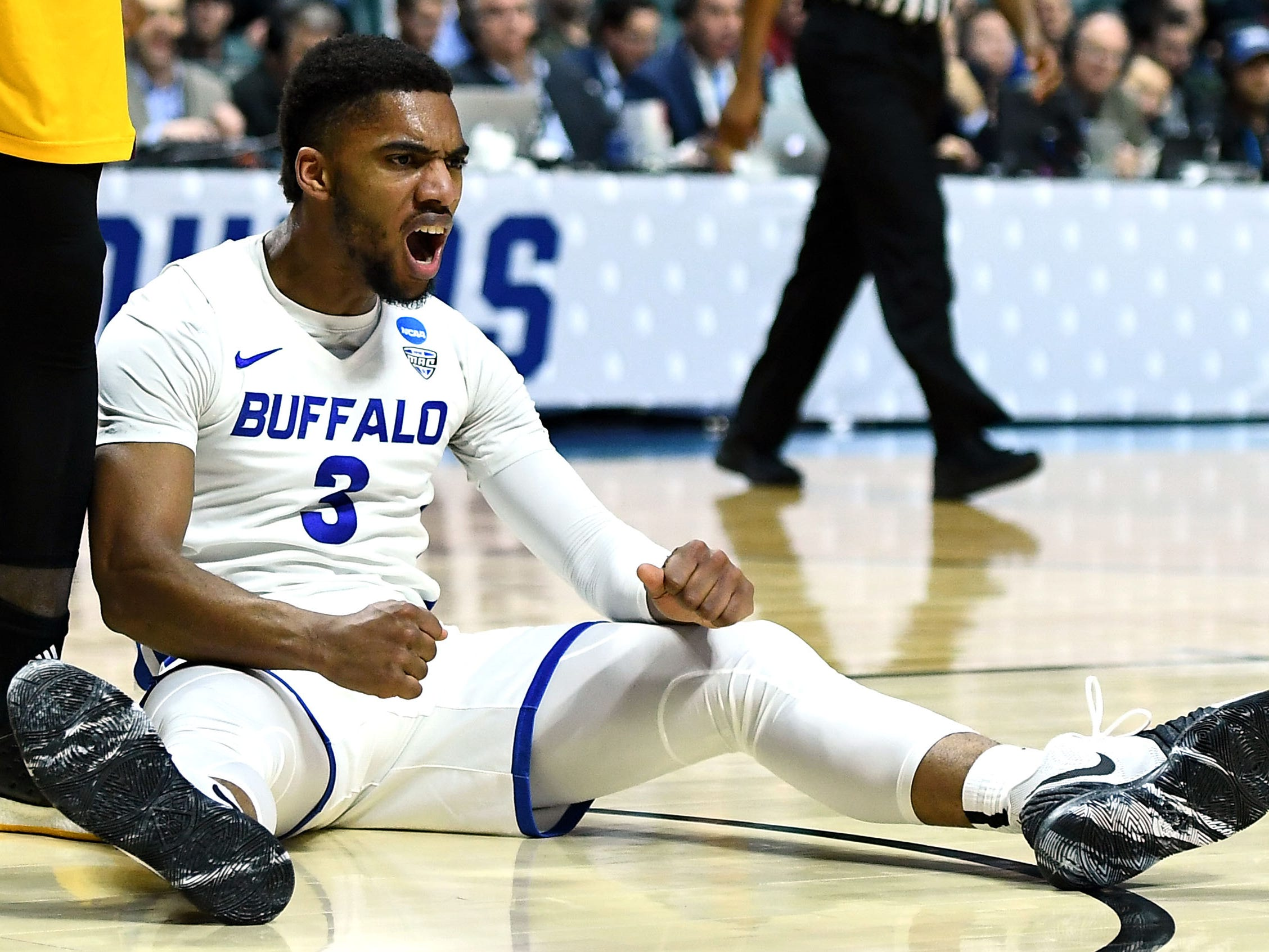 TULSA, OKLAHOMA - MARCH 22:  Jayvon Graves #3 of the Buffalo Bulls reacts after being fouled while playing the Arizona State Sun Devils during the second half of the first round game of the 2019 NCAA Men's Basketball Tournament at BOK Center on March 22, 2019 in Tulsa, Oklahoma. (Photo by Stacy Revere/Getty Images)