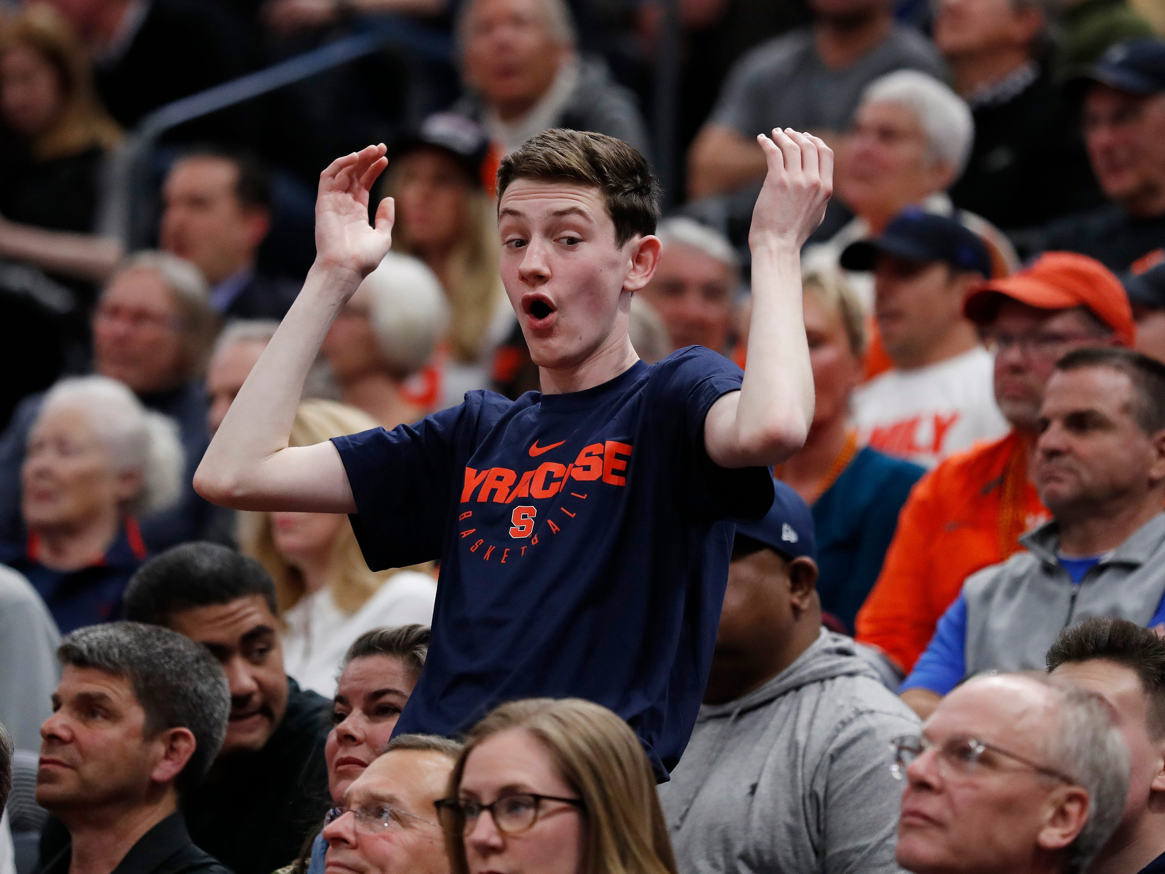 A Syracuse fans reacts to a call during the first half of the team's first-round game against Baylor in the NCAA men's college basketball tournament Thursday, March 21, 2019, in Salt Lake City.