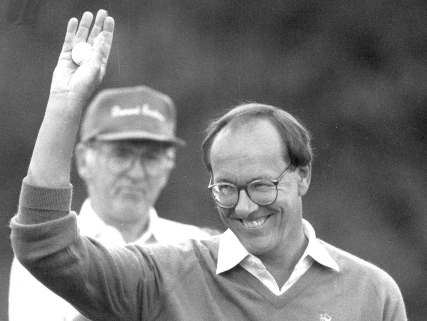 Jim Boeheim waves to the crowd at Oak Hill while playing in a Pro-Am on June 8, 1988.