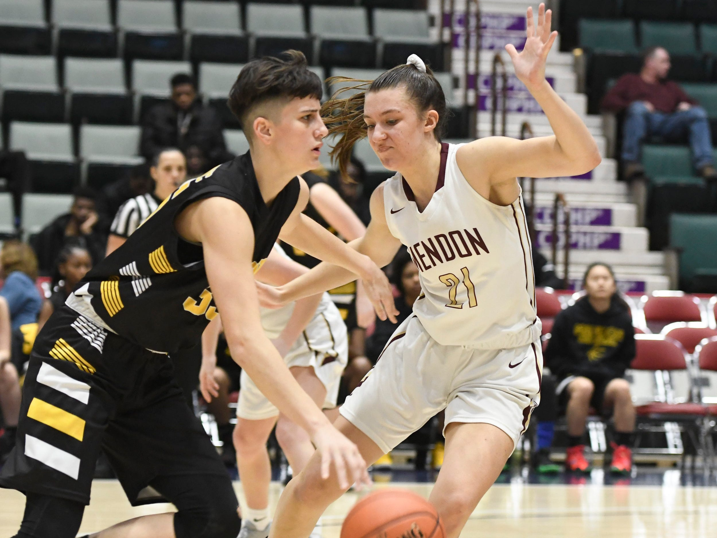 Pittsford Mendon's Alana Fursman guards James Madison's Melinda Feratovic during their Girls Class A Federation Tournament of Champions semifinal at Cool Insuring Arena on Friday, Mar. 23, 2019, in Glens Falls.