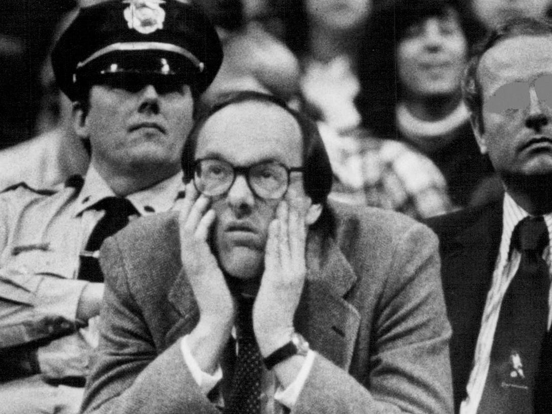 Jim Boeheim watches his team during an 89-69 win over Connecticut on Feb. 2, 1983.