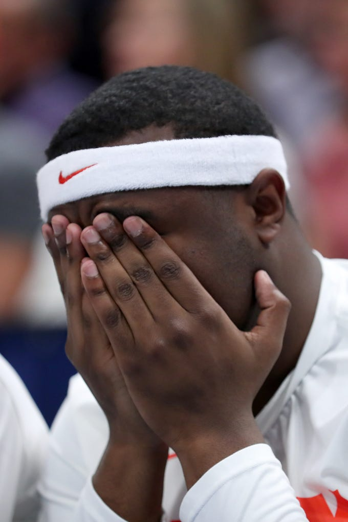 Adrian Autry of the Syracuse Orange reacts during Syracuse's 78-69 loss to Baylor on Thursday night.