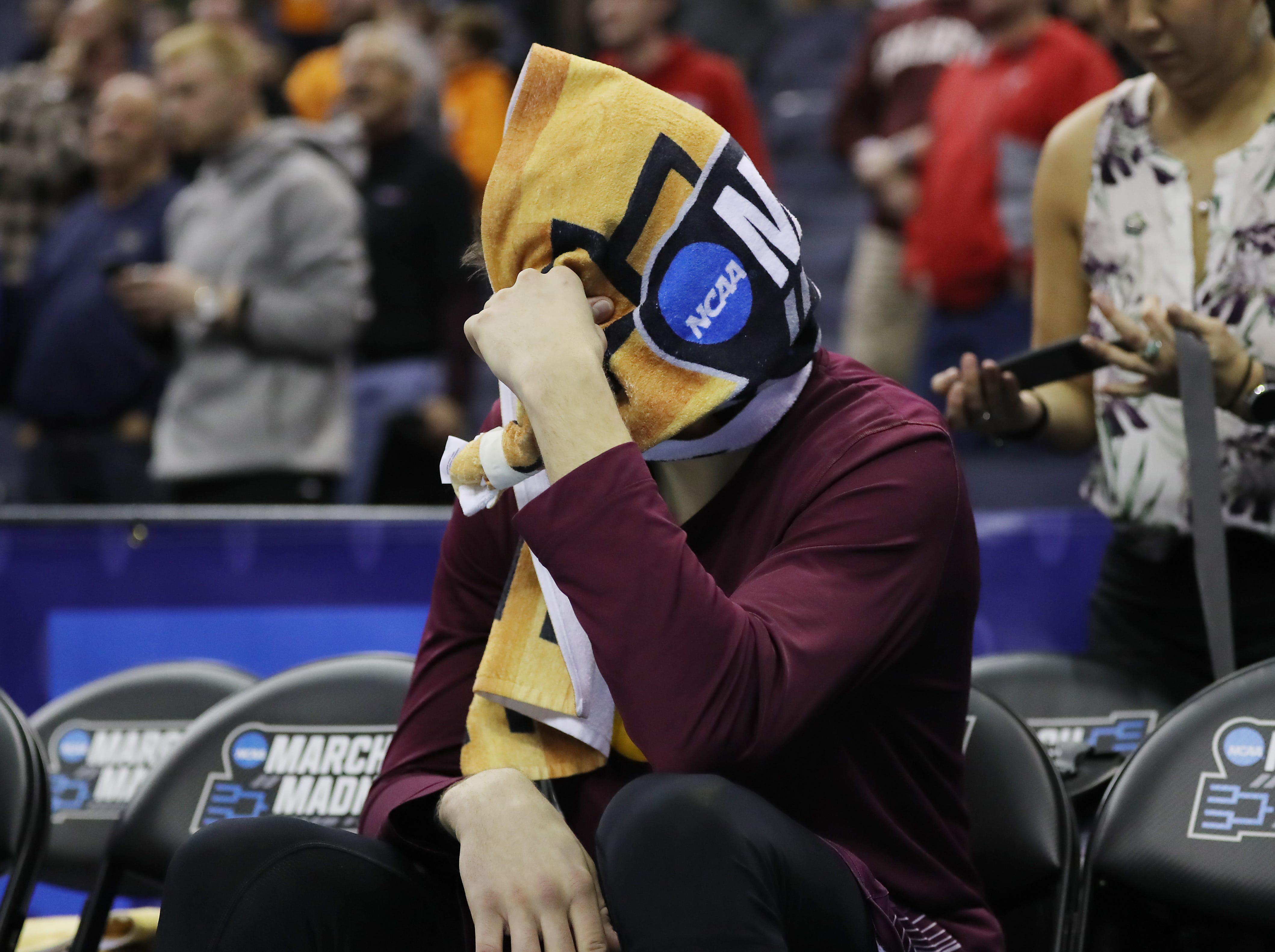 COLUMBUS, OHIO - MARCH 22: Rapolas Ivanauskas #25 of the Colgate Raiders reacts after being defeated by the Tennessee Volunteers 77-70 in the first round of the 2019 NCAA Men's Basketball Tournament at Nationwide Arena on March 22, 2019 in Columbus, Ohio. (Photo by Elsa/Getty Images)
