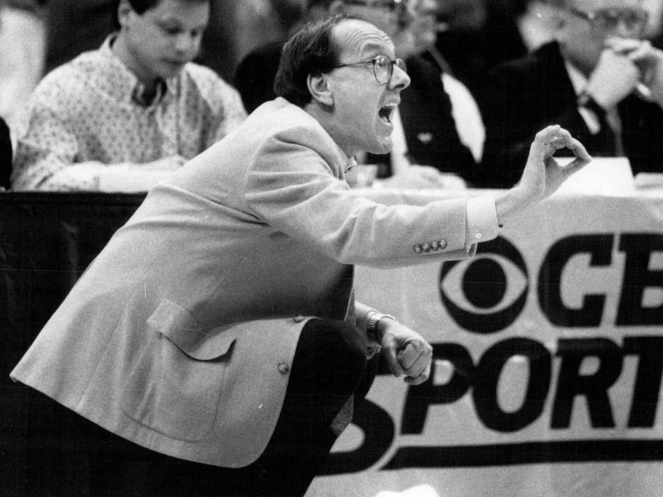 Jim Boeheim coaches Syracuse during a game against Michigan on  Jan. 31, 1988.