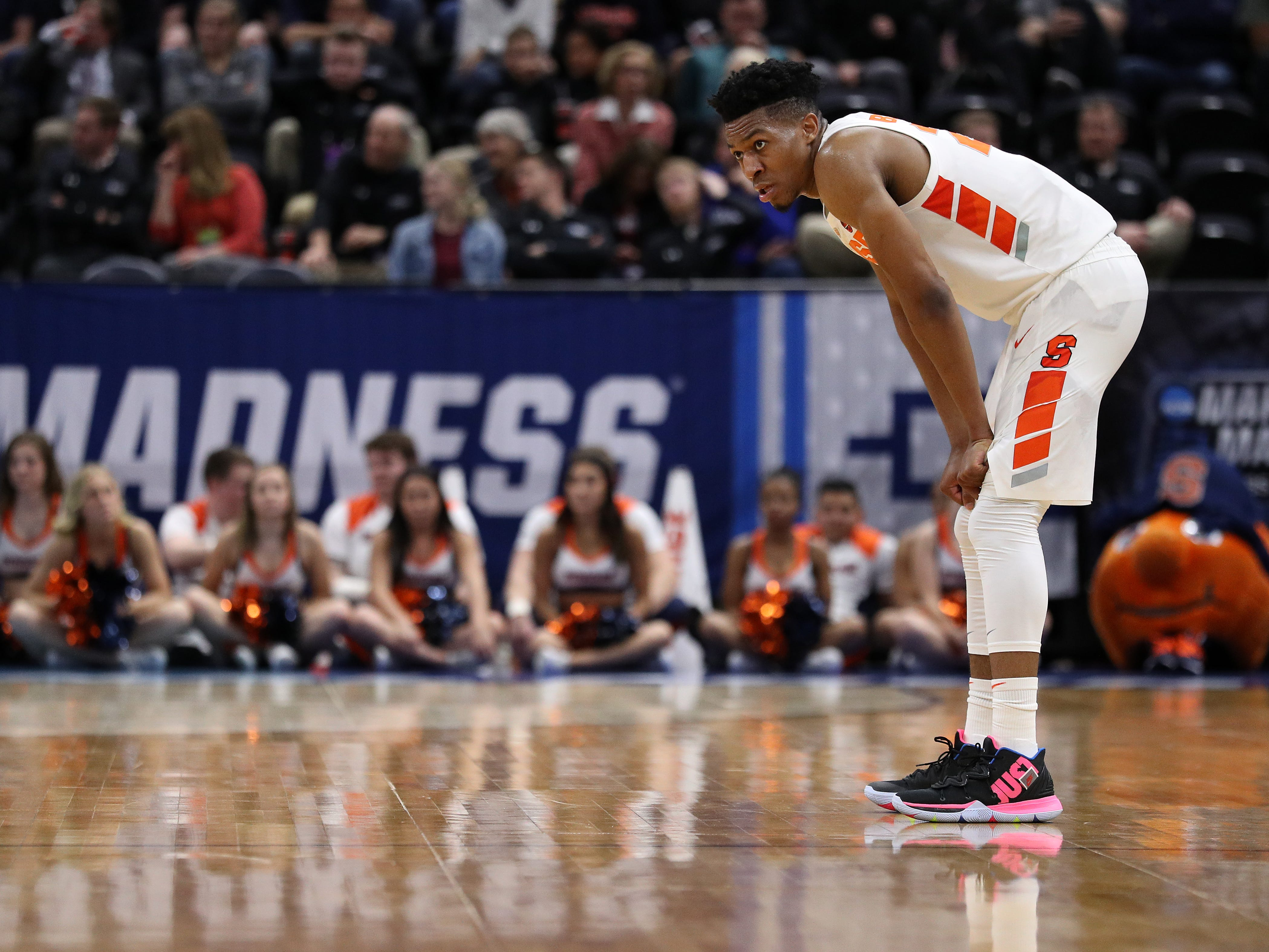 Tyus Battle of the Syracuse Orange reacts against the Baylor Bears during the second half 0f a 78-69 loss in the first round of the 2019 NCAA Men's Basketball Tournament at Vivint Smart Home Arena on March 21, 2019 in Salt Lake City, Utah.
