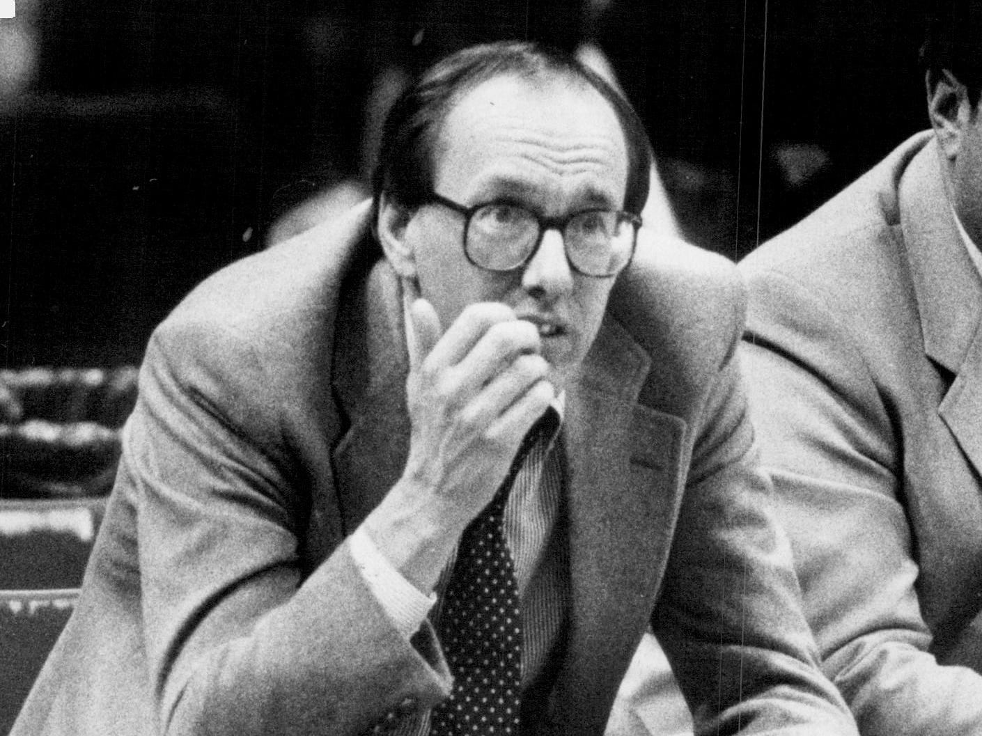 Syracuse coach Jim Boeheim bites his fingernails during an 82-76 win over Providence on Feb. 12, 1985. The victory was the 199th of Boeheim's career