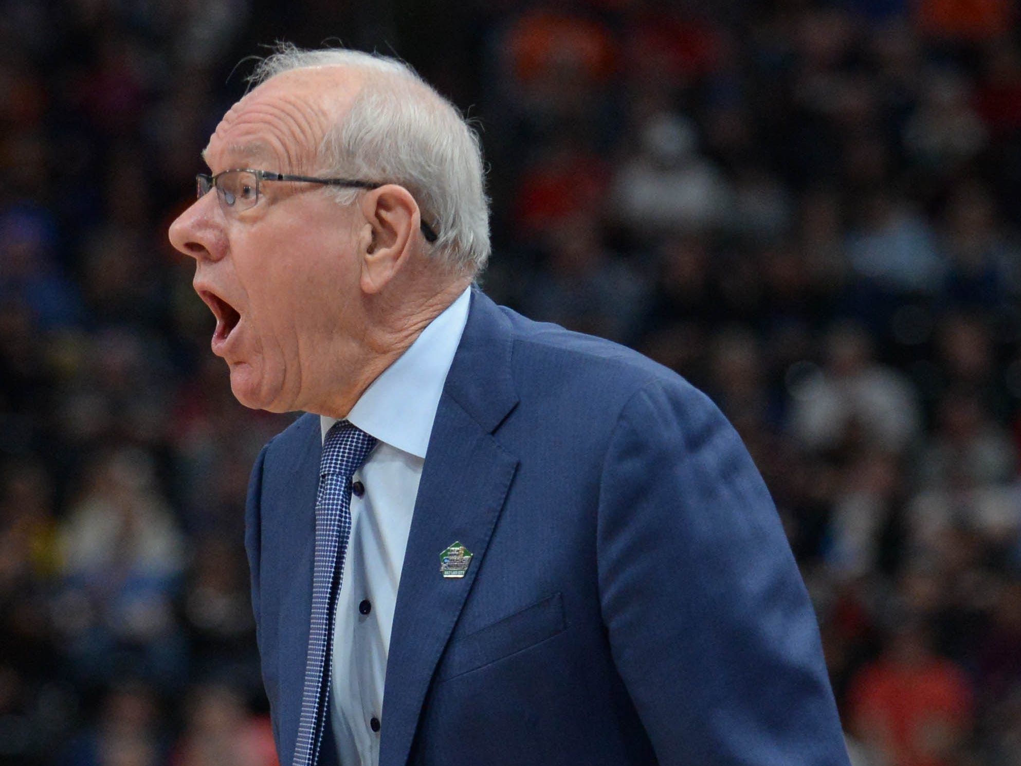 Syracuse head coach Jim Boeheim reacts against the Baylor Bears during the first half in the first round of the 2019 NCAA Tournament at Vivint Smart Home Arena in Salt Lake City.