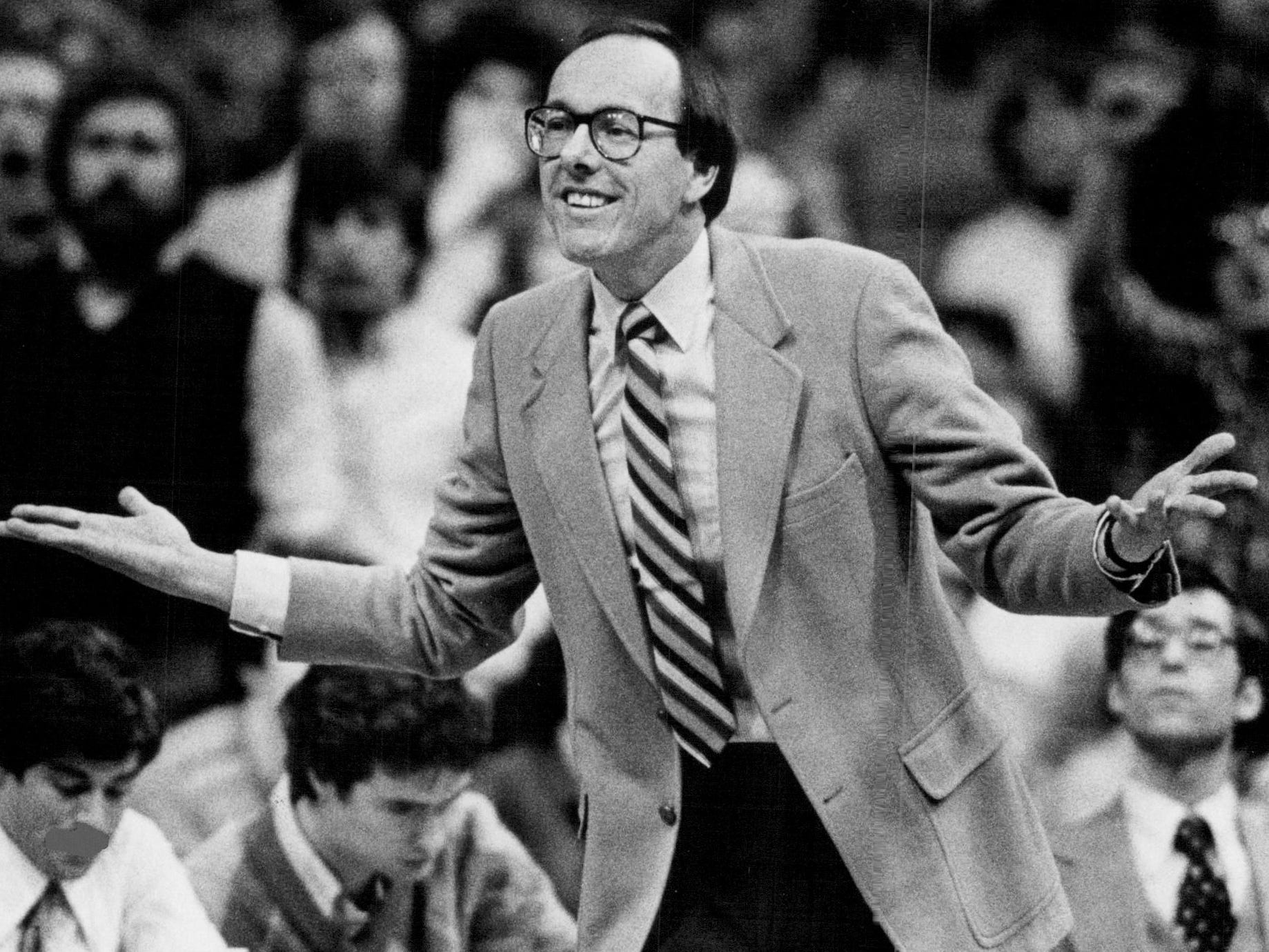 Syracuse coach Jim Boeheim pleads his case to the officials during a 72-69 win over Connecticut on Jan. 6, 1982.