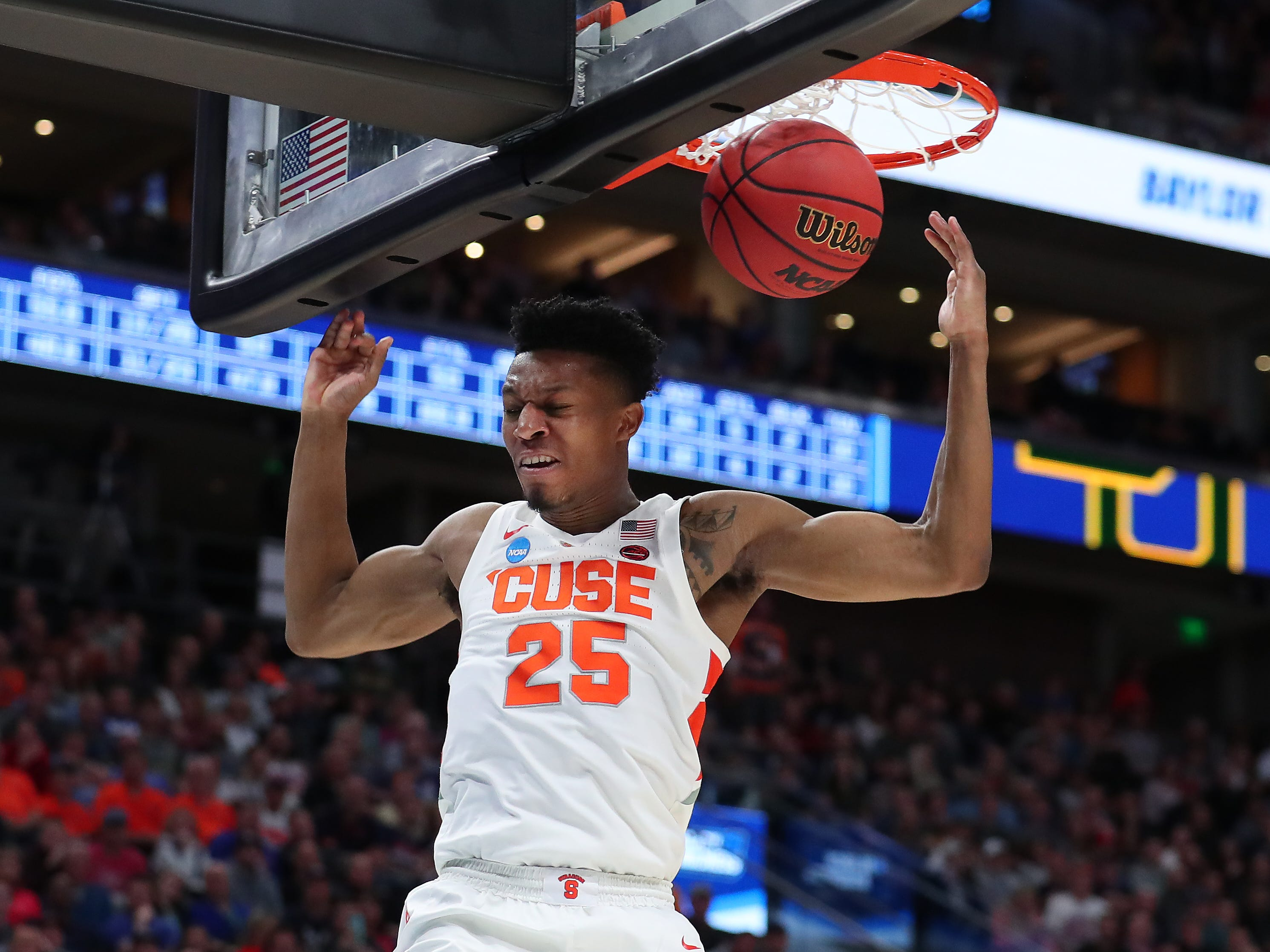 Tyus Battle of the Syracuse Orange dunks against the Baylor Bears during the second half in the first round of the 2019 NCAA Men's Basketball Tournament at Vivint Smart Home Arena on March 21, 2019 in Salt Lake City, Utah.