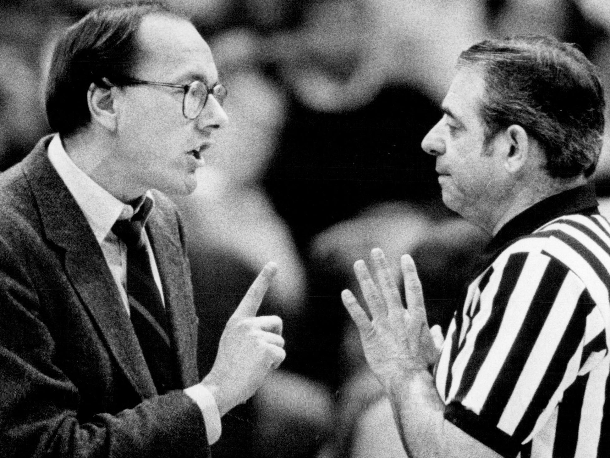 Jim Boeheim expresses a difference of opinion with one of the officials during a 68-64 win over St. John's on Feb. 1, 1986.