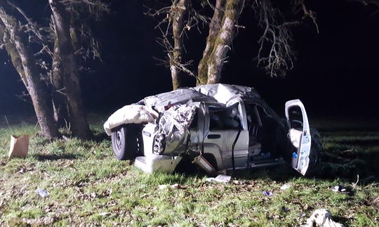 One person is dead after a vehicle fleeing police crashed south of Salem Thursday evening.
