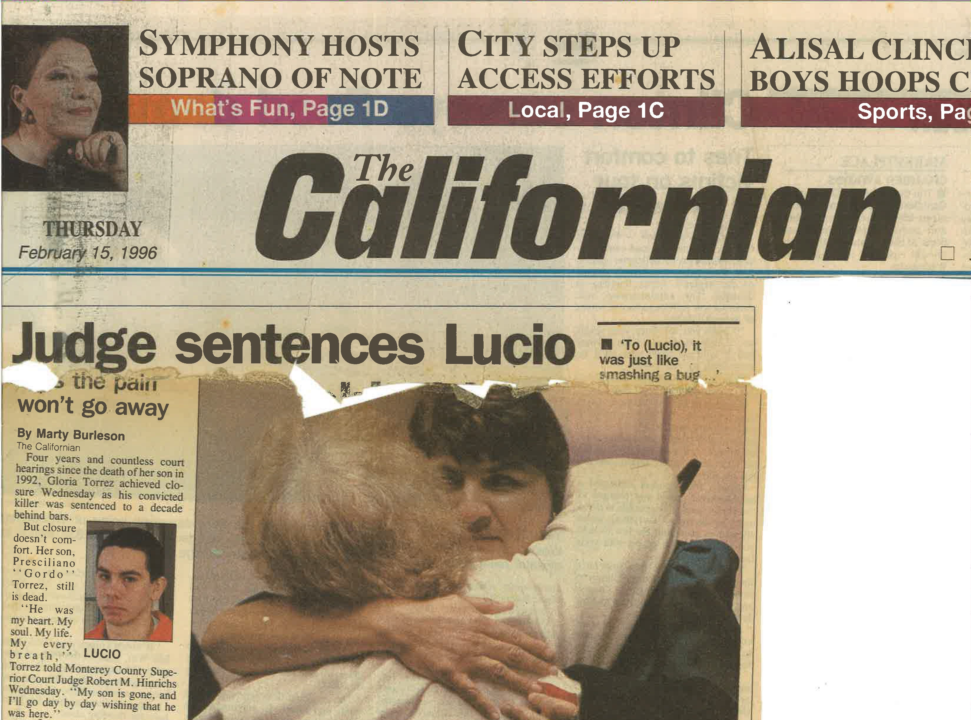 Torrez saved a front-page story from The Californian from the day her son's killer was sentenced.