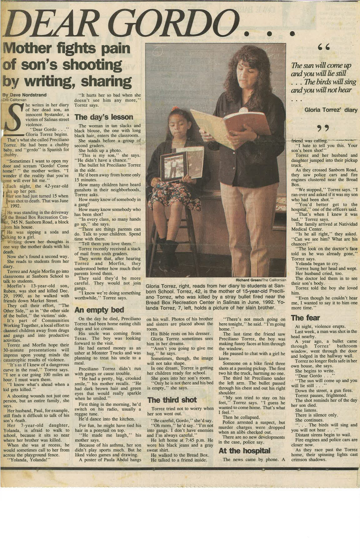 Torrez and her daughter Yolanda are pictured in this article about Torrez's activism in the wake of her son Preciliano's murer.