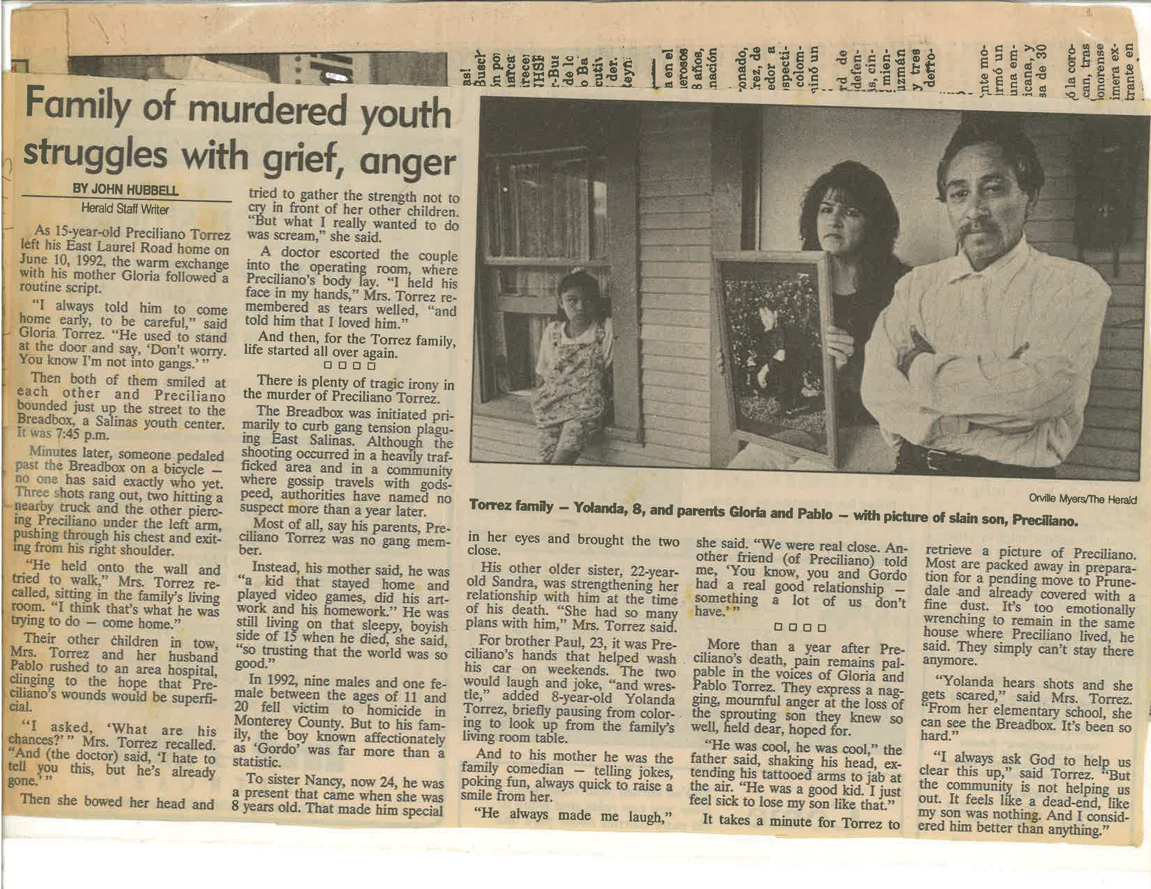 An article talks about the toll Preciliano's death took on the Torrez family.