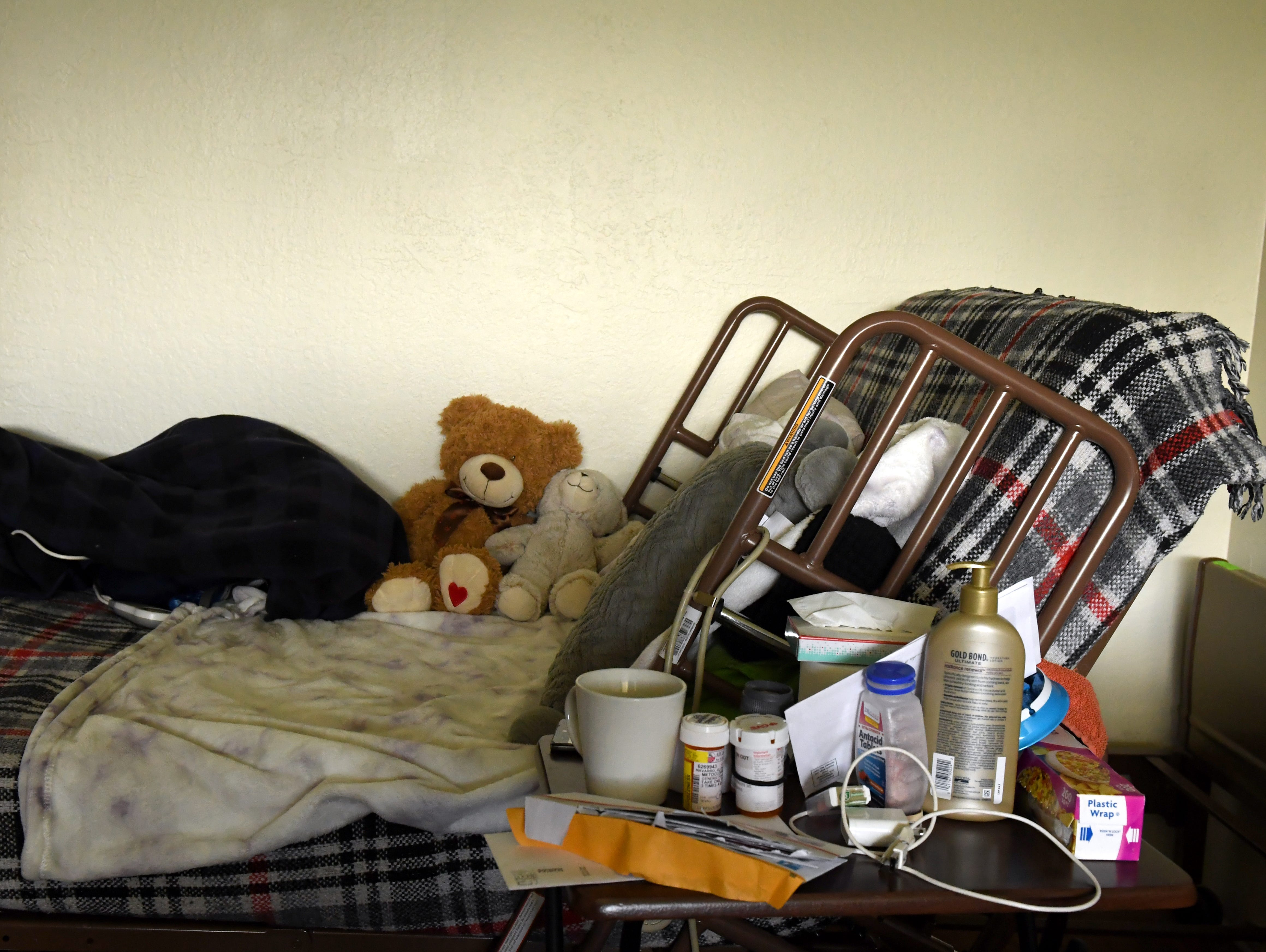 Gloria Torrez was diagnosed with stomach cancer, and as she became more ill, she has stayed in this bed in her Salinas home.