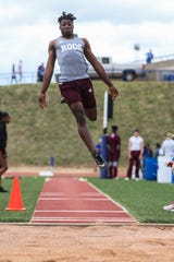 Kileen's Colin Price jumps the long jump during the San Angelo Relays Friday, March 22, 2019, at the San Angelo Stadium.