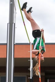 Monahans' Macy Watts jumps over the pole vault during the San Angelo Relays on Friday, March 22, 2019, at San Angelo Stadium.