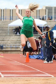 Wall's Mackensie Wilson competes in the Division IV triple jump during the San Angelo Relays Friday, March 22, 2019, at San Angelo Stadium.