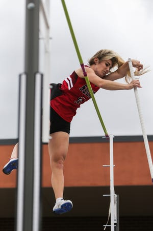 Lane Cahill jumps the pole vault during the San Angelo Relays Friday, March 22, 2019, at the San Angelo Stadium.