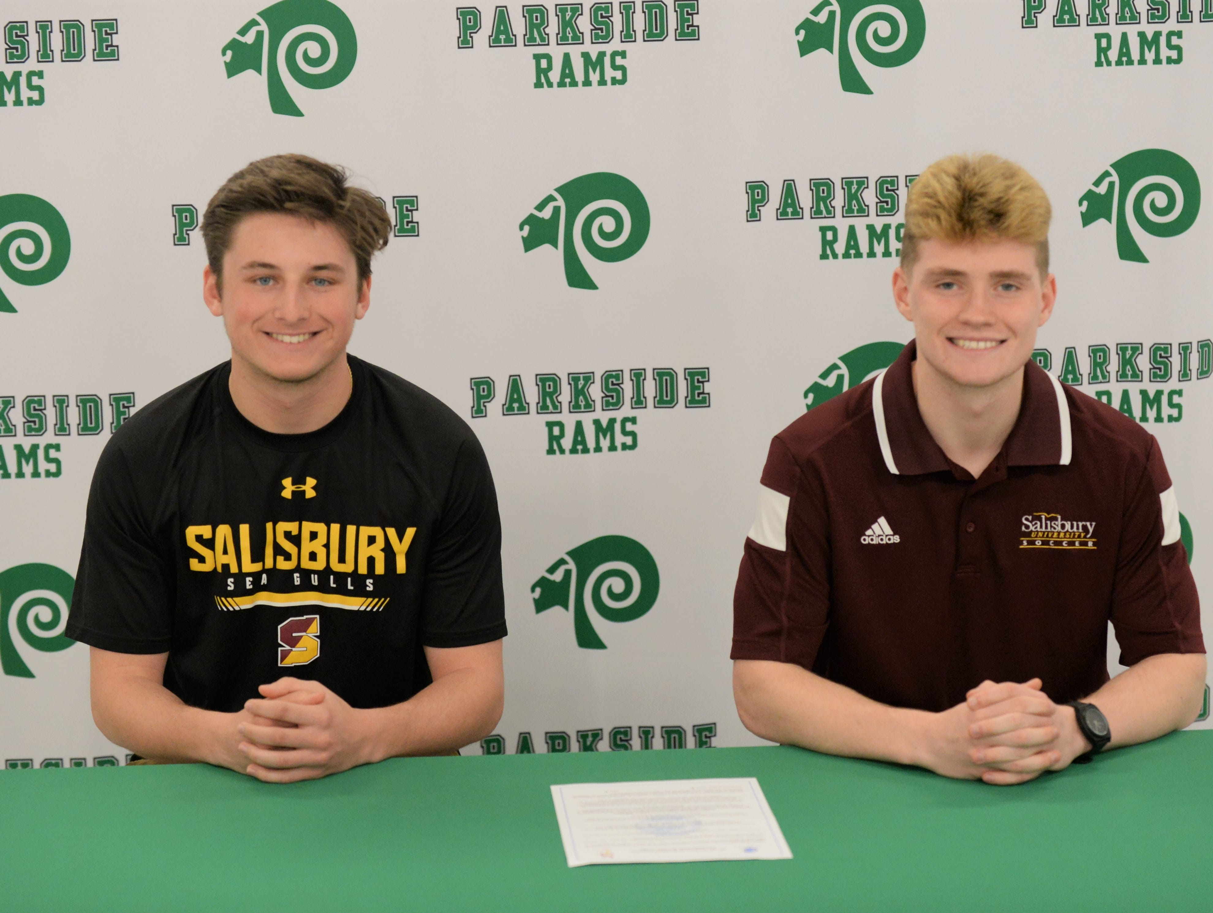 Parkside's Kade Johnson (left) and Mark Zimmerman announce their intent to play soccer at Salisbury University following graduation.