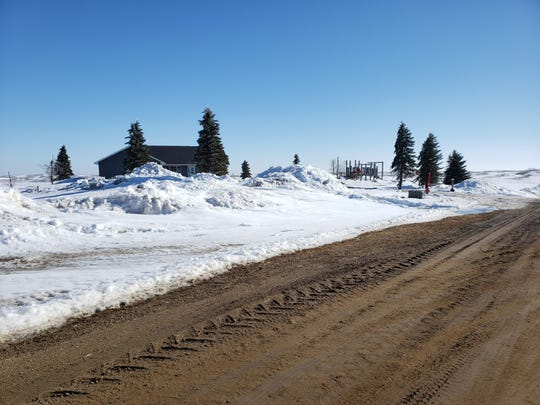 Snow at Summit, S.D. near the headwaters of the Big Sioux River on March 20, 2019. The snow is expected to flood communities along the river.