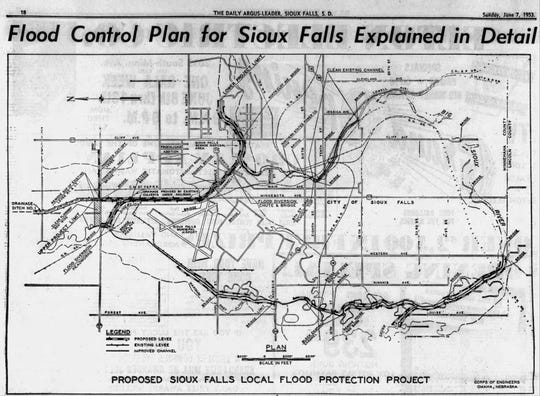 A drawing of the U.S. Army Corps of Engineers' plan to provide flood protection for Sioux Falls, from the June 7, 1953 Argus Leader. The community originally objected to the plan, but changed its mind after floods in 1951 on the Big Sioux River overwhelmed the system the city had at the time.