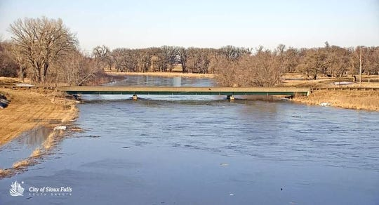 The Big Sioux River at the Diversion Channel in North Sioux Falls. Picture taken Friday night.