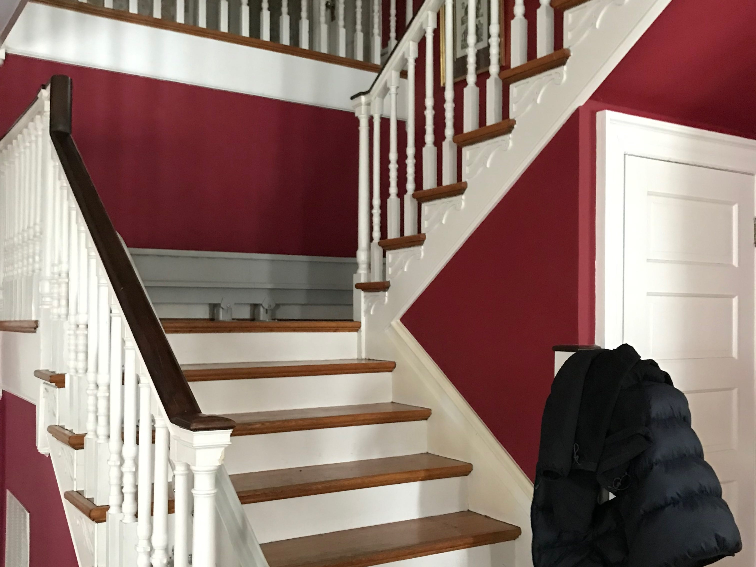The stairs in Dr. Robert Kyler's home in Staunton. Initially he tried to use a stair lift which costs $15,000, but it was not safe enough for him to use independently so he moved his bedroom and main bathroom to the ground floor. Photographed on Friday, March 8, 2019.