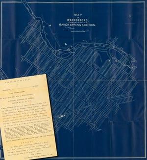 Map of Baker Springs and handbill, 1890.