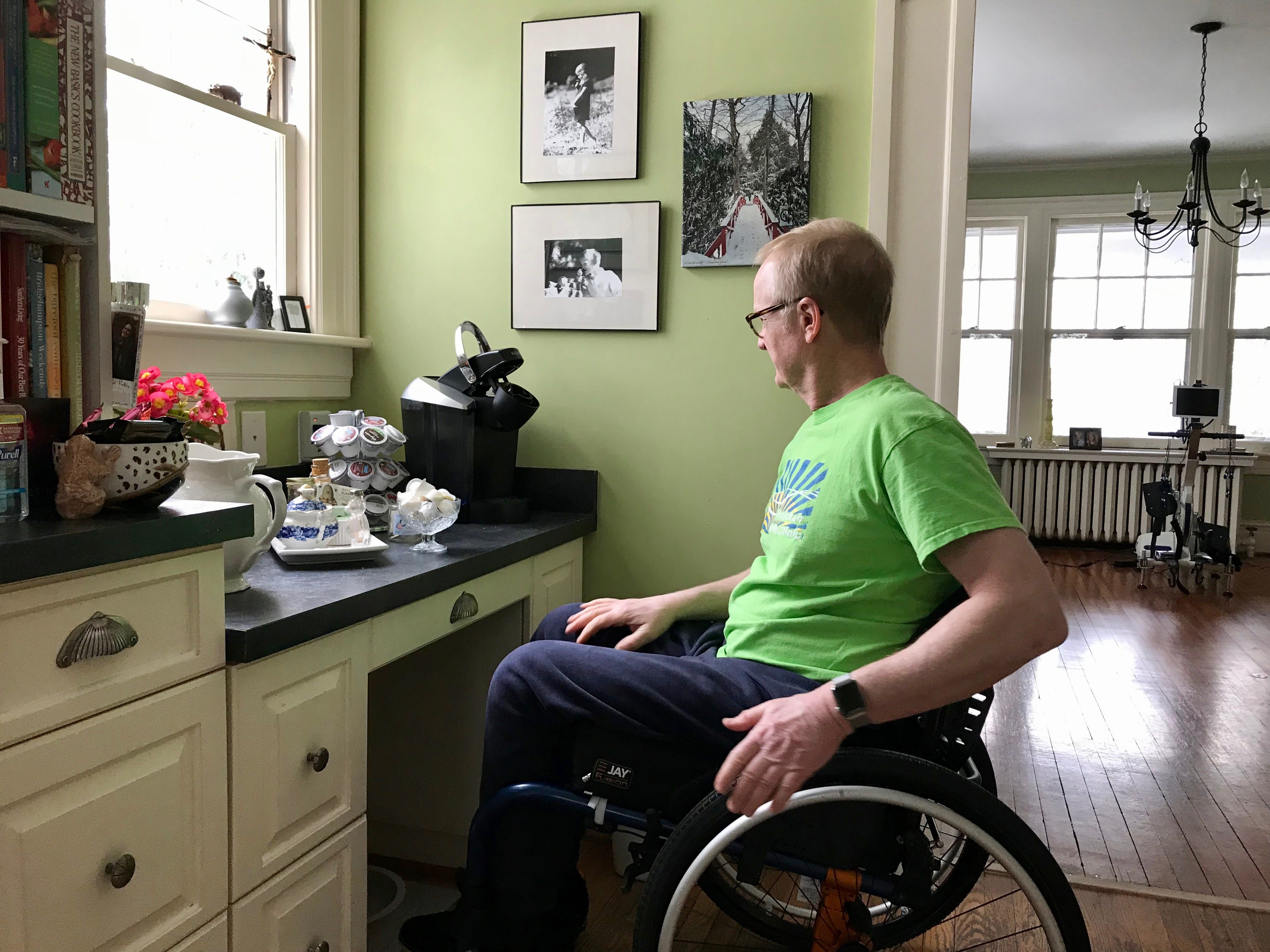 Wilson Workforce and Rehabilitation Center in Fishersville came to Dr. Robert Kyler's home to give suggestions, some as simple as moving the coffee maker to a lower table in the kitchen. Photographed in his home in Staunton, Virginia, on Friday, March 8, 2019.