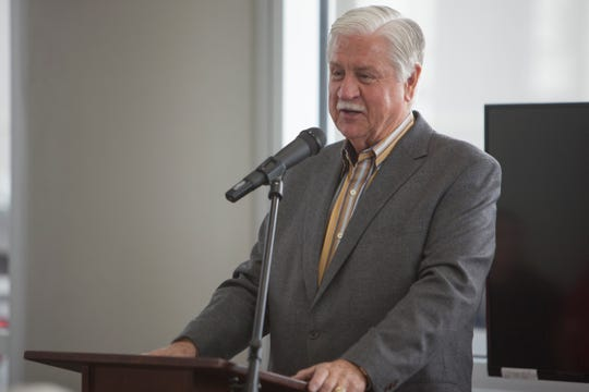 Stephen Wade, the president of the Stephen Wade Auto Center, speaks during the announcement of the company's donation of pumper cars to the Washington County School District Friday, March 22, 2019.