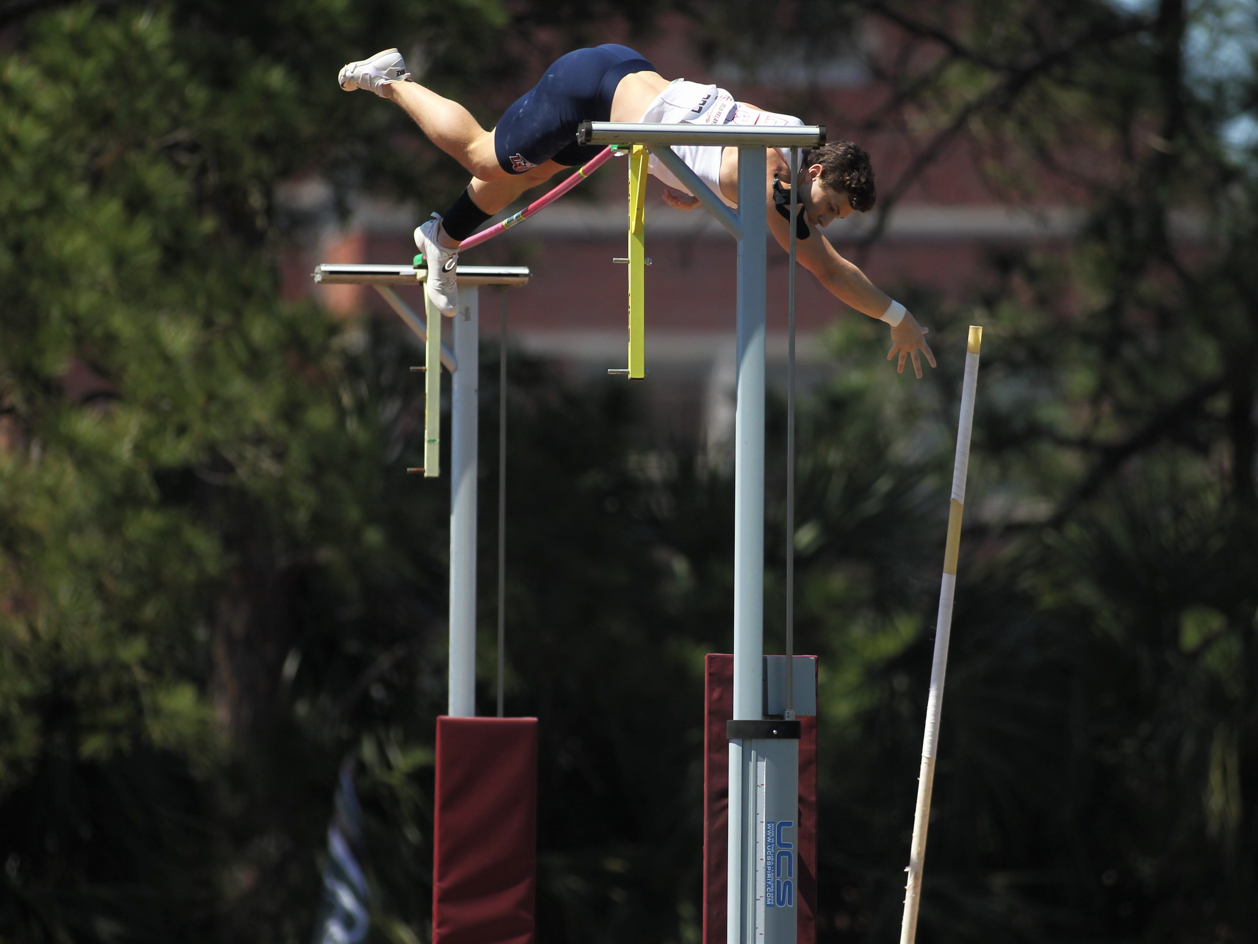 Liberty freshman Taylen Langin competes in pole vault during Friday's college portion of the FSU Relays at Mike Long Track on March 22, 2019.