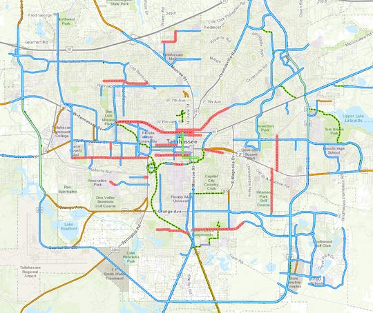 Tallahassee's bike network.